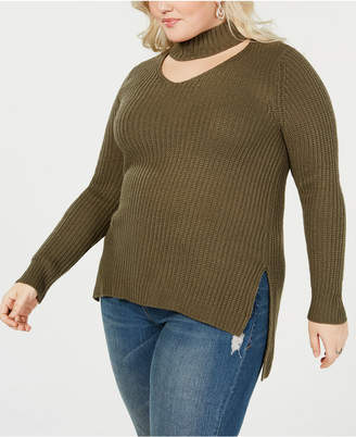 Planet Gold Trendy Plus Size Cutout Sweater