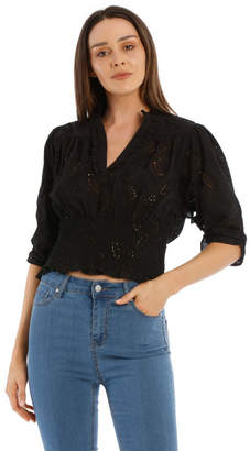 Broderie Shirred Bodice Top