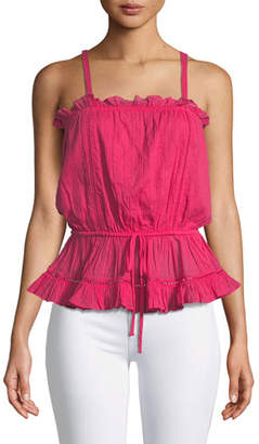 Lovers And Friends Carmen Sleeveless Drawstring Ruffle Top