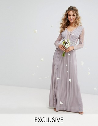 TFNC WEDDING Pleated Maxi Dress with Long Sleeves and Lace Inserts with Embellished Waist $119 thestylecure.com