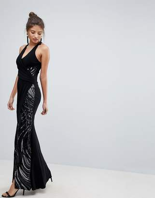 Lipsy Halter Maxi Dress With Sequin Detail