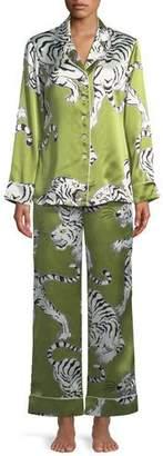 Olivia Von Halle Lila Rola Screen-Print Silk Classic Pajama Set