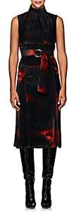 Altuzarra Women's Indira Tie-Dyed Velvet Belted Dress - Red, Black