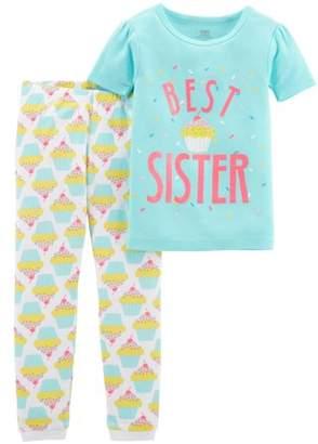 Carter's Child of Mine by Baby Girl Short Sleeve Shirt & Pants Pajamas, 2pc Set