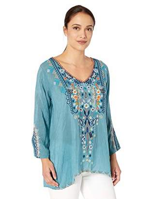 Johnny Was Women's V-Neck Blouse with Embroidery
