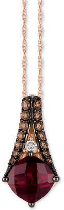 "LeVian Le Vian Chocolatier Raspberry Rhodolite (1-3/4 ct. t.w.) & Diamond (1/5 ct. t.w.) 18"" Pendant Necklace in 14k Rose Gold"