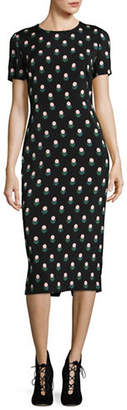Diane von Furstenberg Printed Short Sleeve Midi Dress