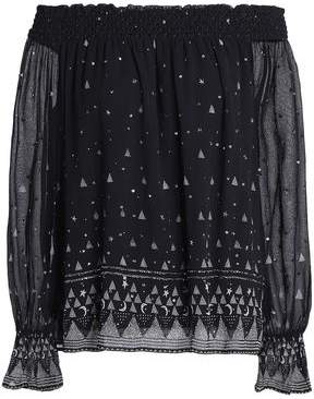 Joie Lilo Off-The-Shoulder Embellished Printed Silk-Georgette Blouse