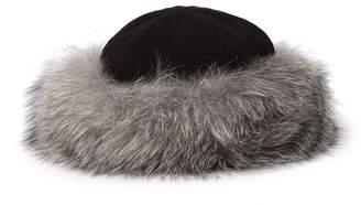 Surell Genuine Rabbit Fur Cuff Suede Crown Hat