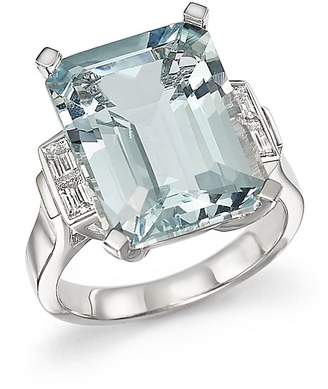 Bloomingdale's Aquamarine and Diamond Baguette Ring in 14K White Gold - 100% Exclusive