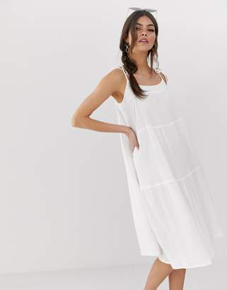 Asos Design DESIGN cheesecloth tiered midi sundress with tie straps