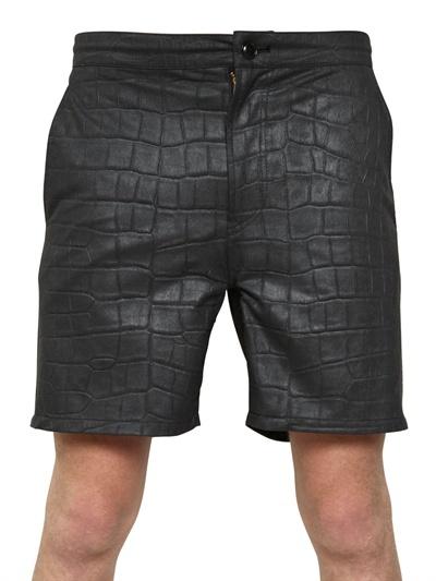 Miharayasuhiro Crocodile Leather Effect Cloth Shorts