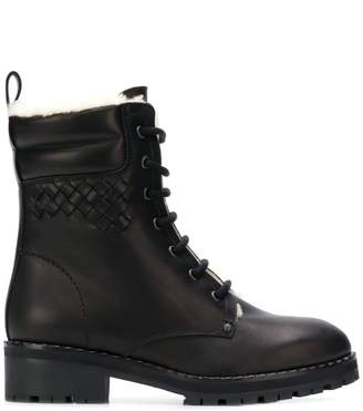 Bottega Veneta fur-lined lace-up ankle boots