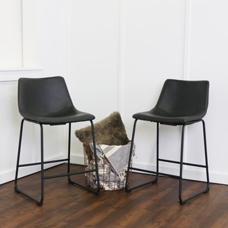 """Walker Edison 26"""" Industrial Faux Leather Counter Stools, set of 2 - Black"""