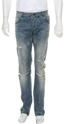 Pierre Balmain Distressed Moto Jeans