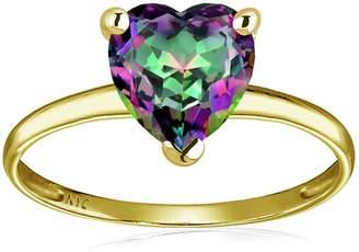 Stark Original Star K Mystic Rainbow Topaz Heart Shape 8mm Solitaire Engagement Ring 14kt Size 9