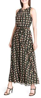 Calvin Klein Geometric-Print Belted Maxi Dress