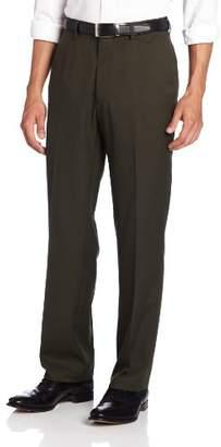 Haggar Men's Solid Gabardine Hidden Expandable Straight-Fit Plain-Front Pant