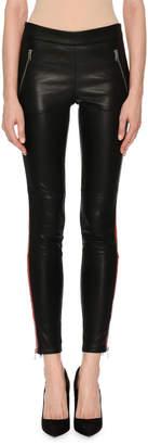 Alexander McQueen Leather Zip-Trim Tuxedo Leggings