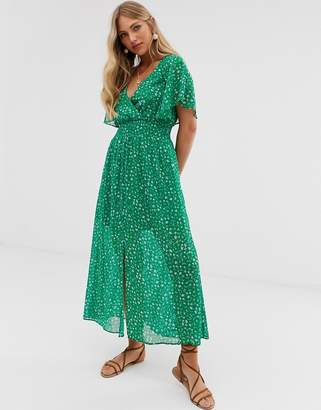 Stradivarius ditsy floral maxi with front split in green