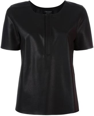 Twin-Set artificial leather T-shirt $150.40 thestylecure.com
