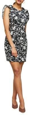 Miss Selfridge Floral Frill Sleeve Shift Dress
