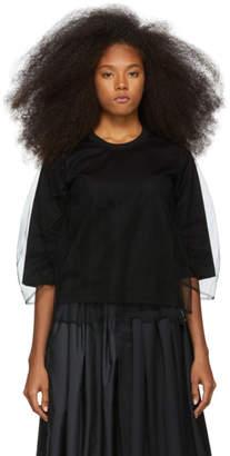 Noir Kei Ninomiya Black Tulle Overlay T-Shirt