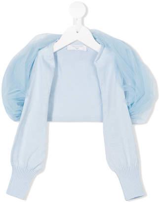 MonnaLisa tulle trim knitted cardigan