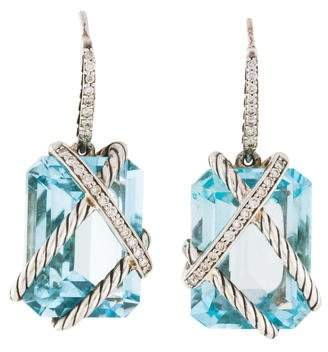 David Yurman Blue Topaz & Diamond Cable Wrap Drop Earrings