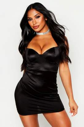boohoo Strappy Stretch Satin Cupped Bodycon Mini Dress