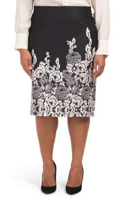 Plus Border Puff Printed Pencil Skirt