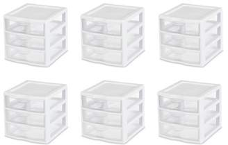 clear Sterilite, Small 3 Drawer Unit, White, Drawers (Available in Case of 6 or Single Unit)