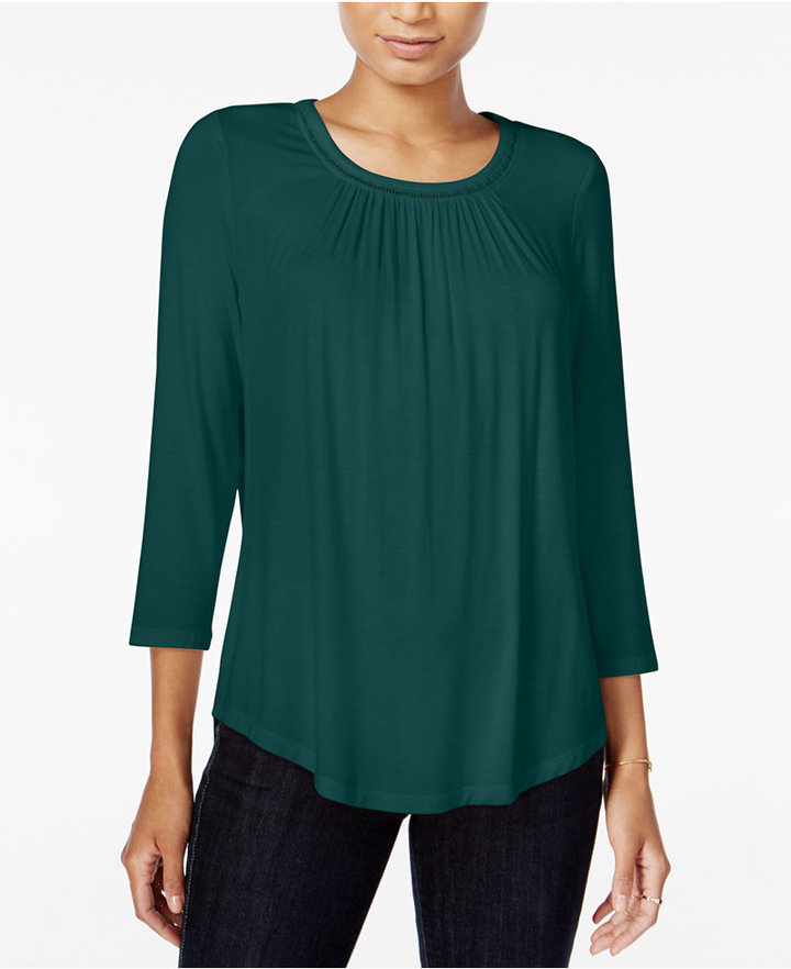 Maison Jules Three-Quarter-Sleeve Top, Only at Macy's