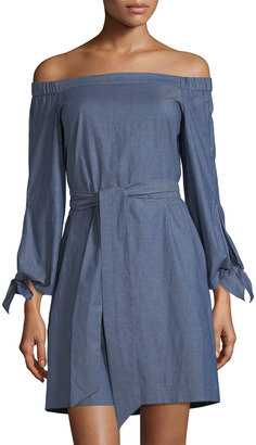 Donna Morgan Off-the-Shoulder Chambray Dress $89 thestylecure.com