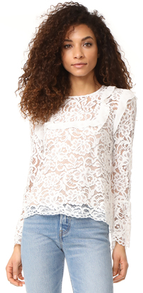 WAYF Lydia Lace Ruffle Trim Blouse $99 thestylecure.com