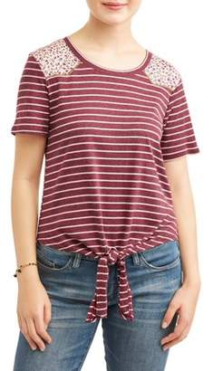 Self Esteem Juniors' Striped Lace Yoke Tie Front Short Sleeve T-Shirt
