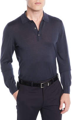 Brioni Men's Wool/Cashmere-Blend Long-Sleeve Polo Shirt