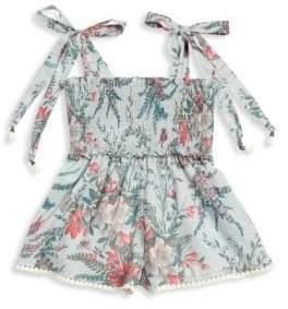 Zimmermann Kids Girl's Bayou Cotton Shirred Playsuit