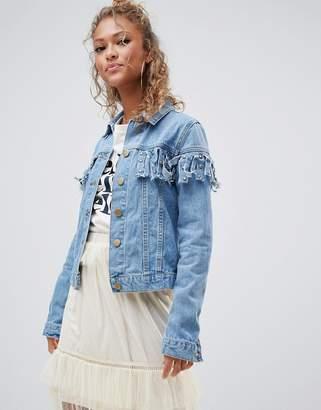 Glamorous denim jacket with tassel detail