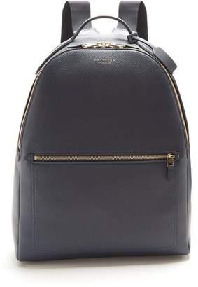 Smythson Burlington Leather Backpack - Mens - Navy