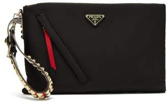 Prada Stud Embellished Padded Nylon Clutch - Womens - Black Multi