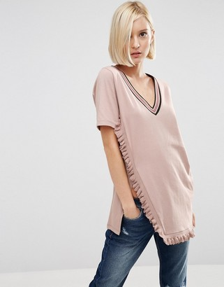 ASOS T-Shirt With V Neck And Tipped Ruffle In Longline $33 thestylecure.com