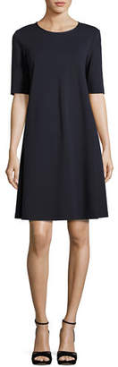 Lafayette 148 New York Charmeuse-Trimmed Half-Sleeve Shift Dress