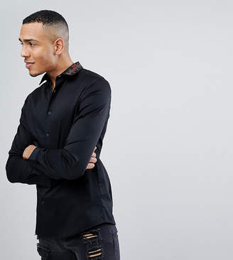 Asos TALL Slim Fit Shirt In White With Embroidered Collar