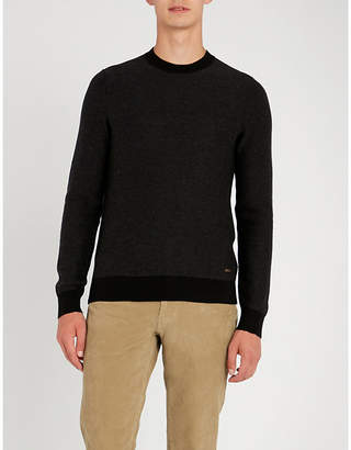 BOSS Crewneck cotton and wool-blend jumper