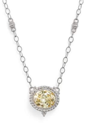Judith Ripka Sterling Silver La Petite Oval Canary Crystal Pendant Necklace, 17