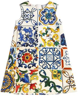 Dolce & Gabbana Maiolica Print Cotton Interlock Dress