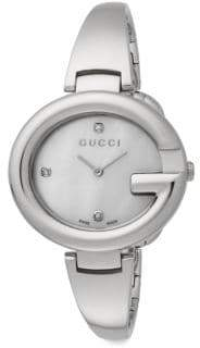 Gucci Guccissima Diamond & Mother-Of-Pearl Stainless Steel Bracelet Watch