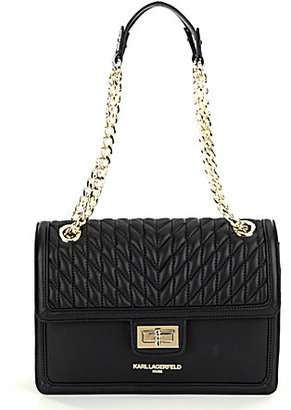 KARL LAGERFELD PARIS Agyness Quilted Chain Strap Shoulder Bag $228 thestylecure.com
