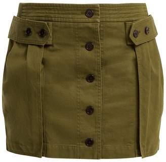 Saint Laurent Mid-rise cotton-blend mini skirt